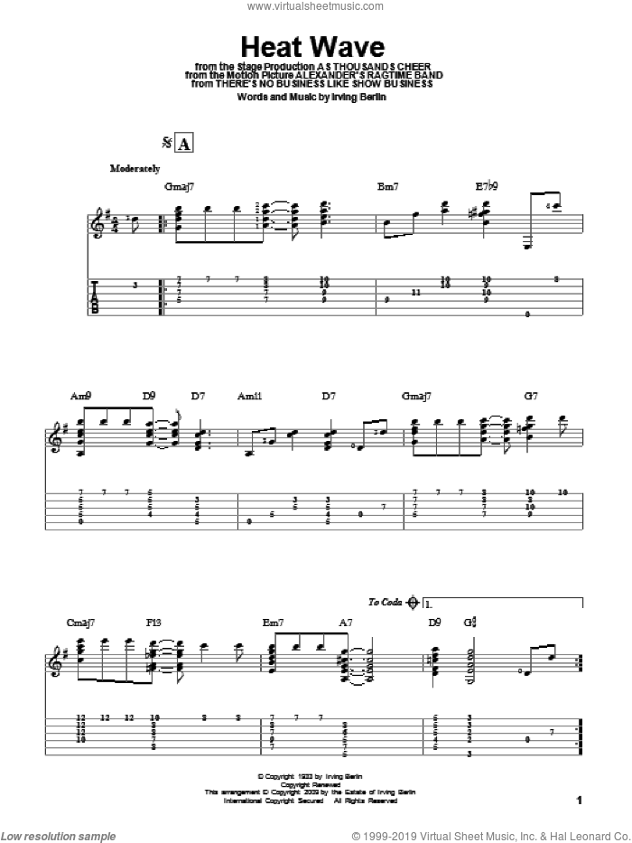 Heat Wave sheet music for guitar solo by Irving Berlin, intermediate skill level