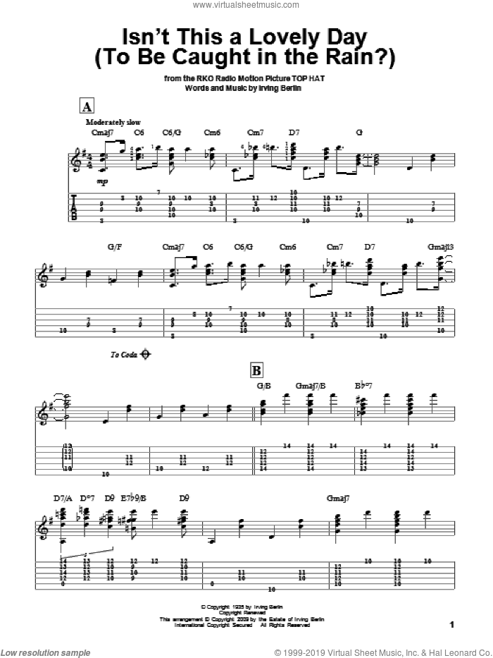 Isn't This A Lovely Day (To Be Caught In The Rain?) sheet music for guitar solo by Irving Berlin, intermediate skill level