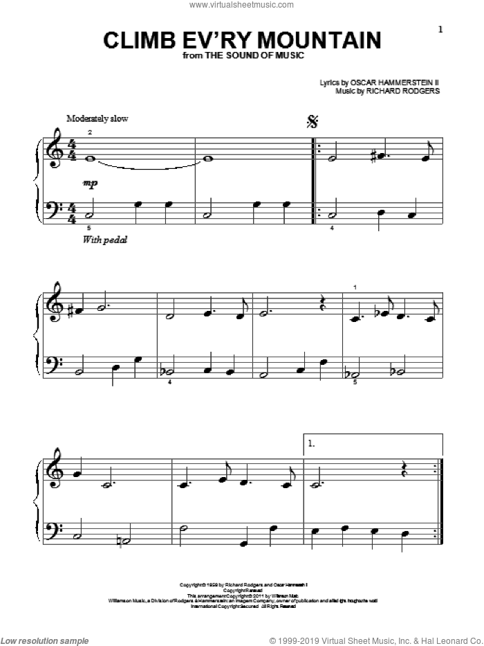 Climb Ev'ry Mountain sheet music for piano solo (big note book) by Rodgers & Hammerstein, The Sound Of Music (Musical), Oscar II Hammerstein and Richard Rodgers, easy piano (big note book)