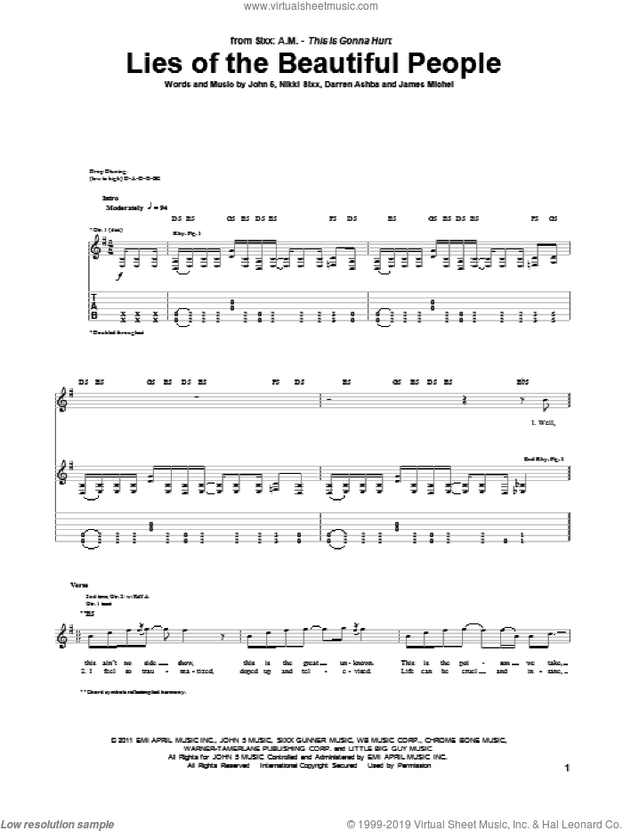 Lies Of The Beautiful People sheet music for guitar (tablature) by Nikki Sixx