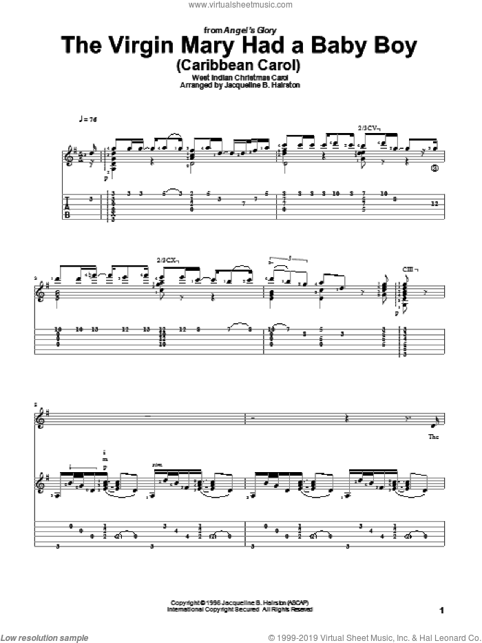 The Virgin Mary Had A Baby Boy sheet music for guitar solo. Score Image Preview.