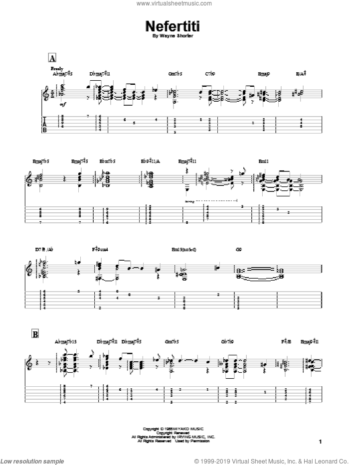 Nefertiti sheet music for guitar solo by Miles Davis and Wayne Shorter, intermediate guitar. Score Image Preview.