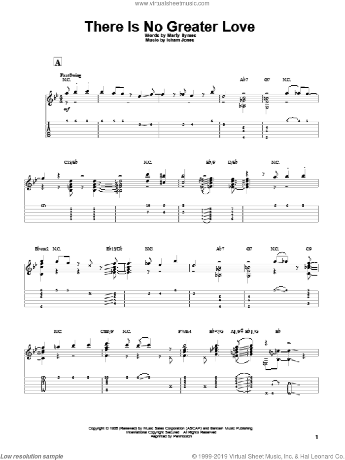 There Is No Greater Love sheet music for guitar solo by Marty Symes, Miles Davis and Isham Jones. Score Image Preview.