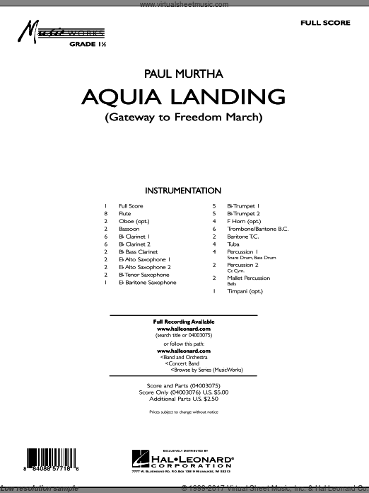 Aquia Landing (Gateway To Freedom March) (COMPLETE) sheet music for concert band by Paul Murtha