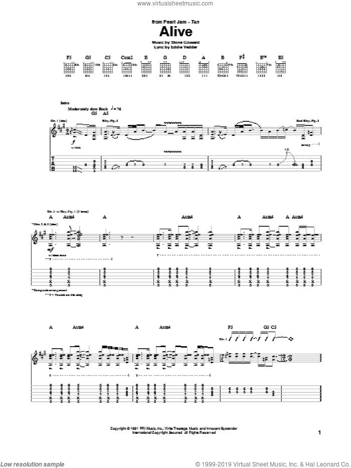 Alive sheet music for guitar (tablature) by Stone Gossard