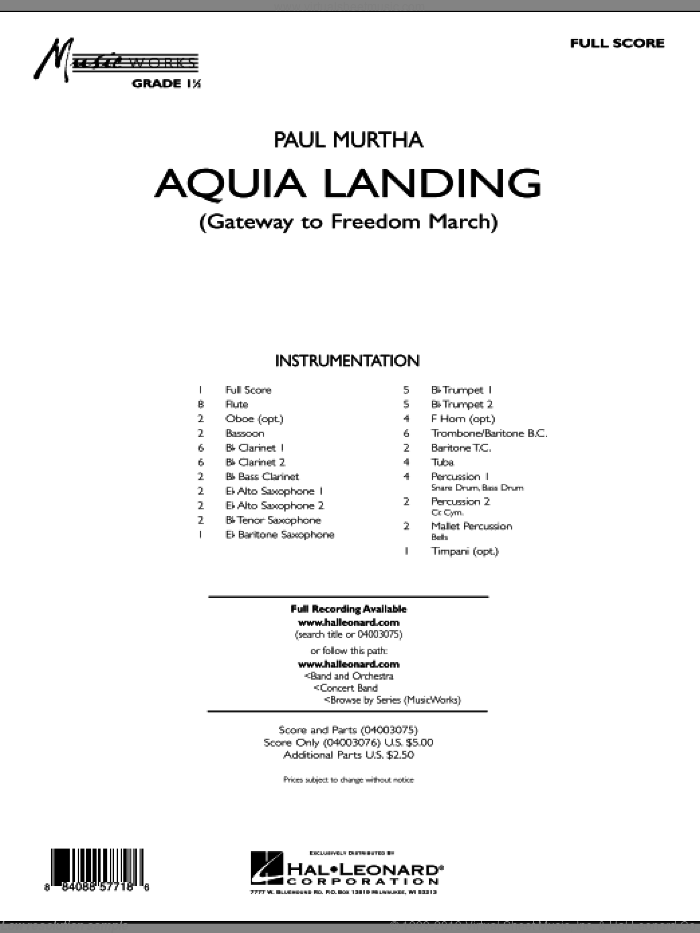 Aquia Landing (Gateway To Freedom March) (COMPLETE) sheet music for concert band by Paul Murtha, intermediate. Score Image Preview.