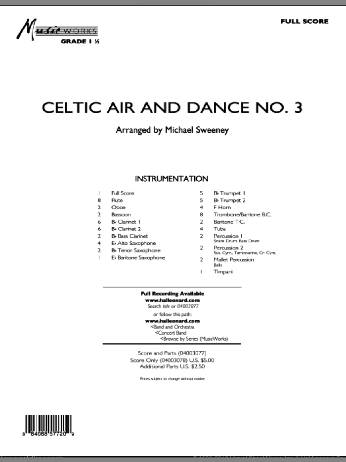 Celtic Air and Dance No. 3 sheet music for concert band (full score) by Michael Sweeney