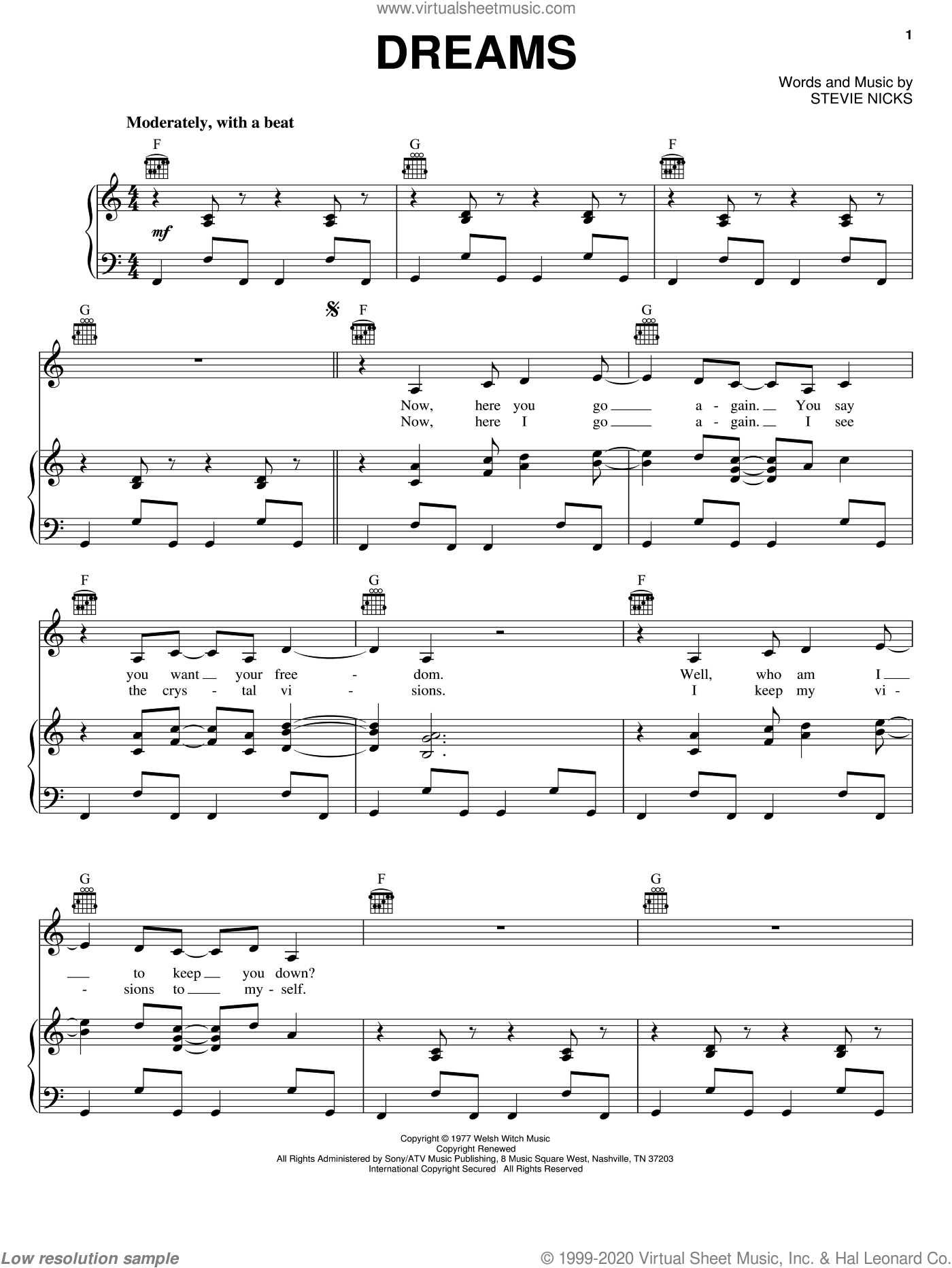 Dreams sheet music for voice, piano or guitar by Fleetwood Mac and Stevie Nicks, intermediate skill level