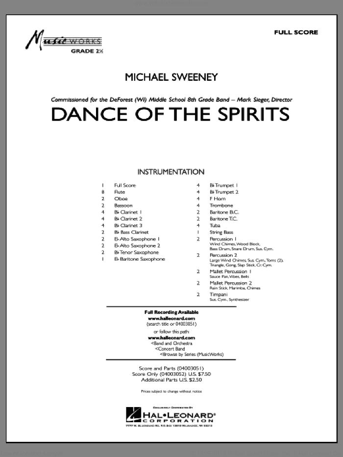 Dance Of The Spirits (COMPLETE) sheet music for concert band by Michael Sweeney, intermediate. Score Image Preview.