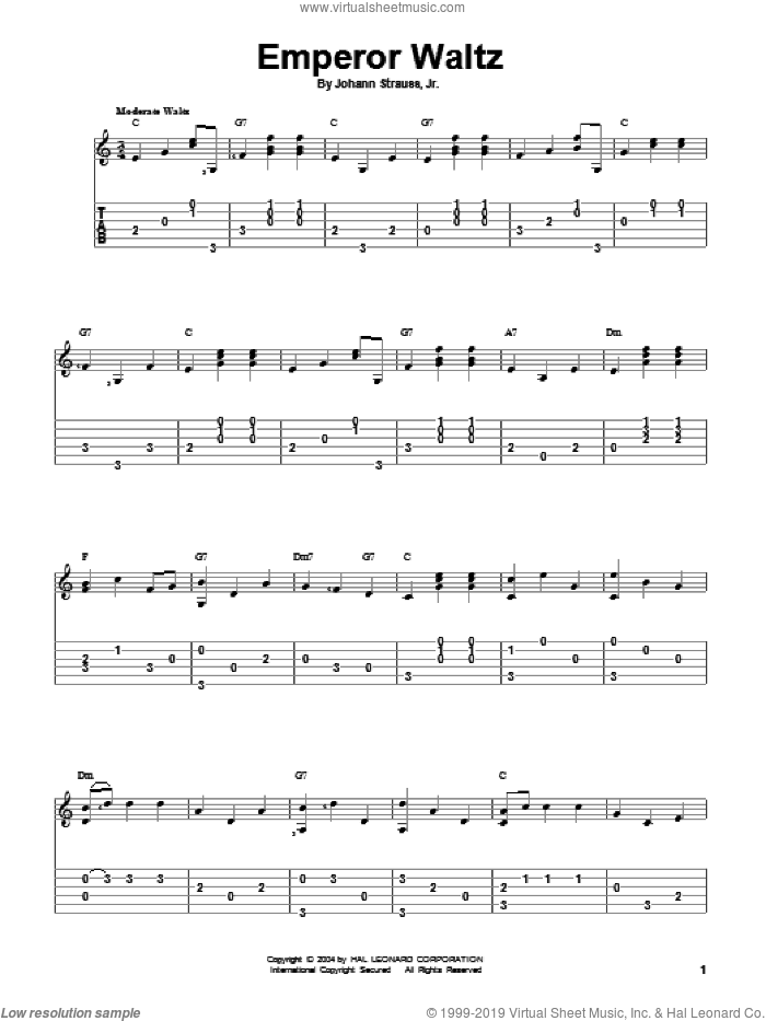 Emperor Waltz sheet music for guitar solo by Johann Strauss, Jr., classical score, intermediate skill level