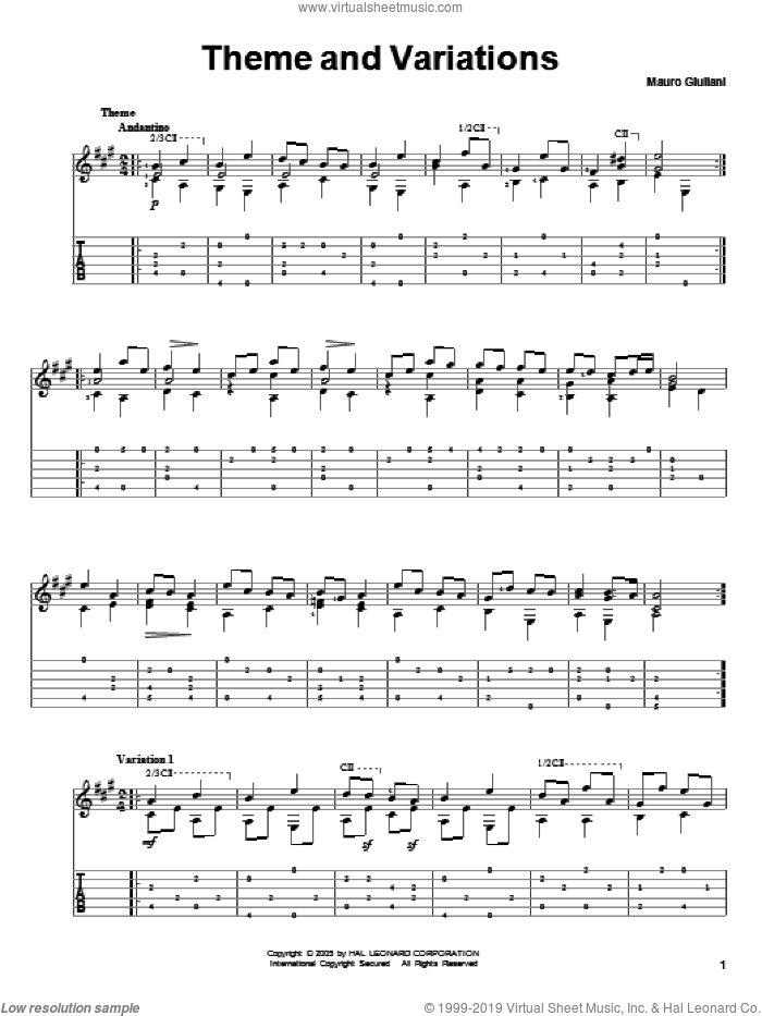 Theme And Variations sheet music for guitar solo by Mauro Giuliani. Score Image Preview.