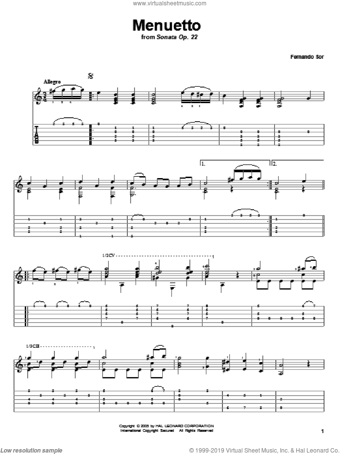 Menuetto (from Sonata Op. 22) sheet music for guitar solo by Fernando Sor. Score Image Preview.