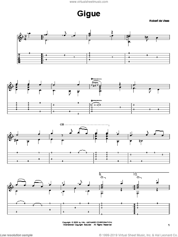 Gigue sheet music for guitar solo by Robert de Visee. Score Image Preview.