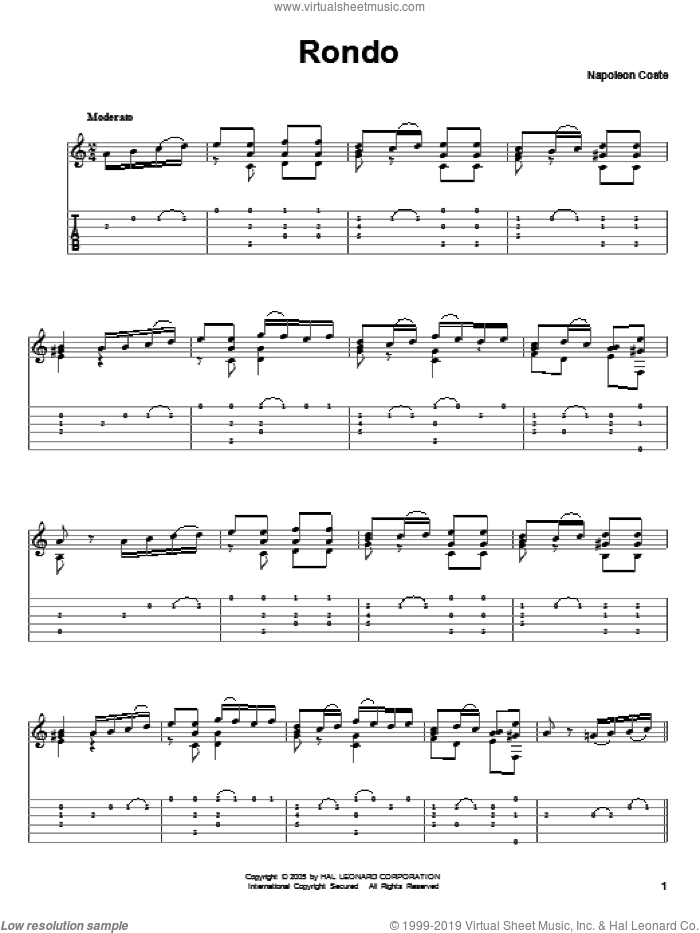 Rondo sheet music for guitar solo by Napoleon Coste. Score Image Preview.