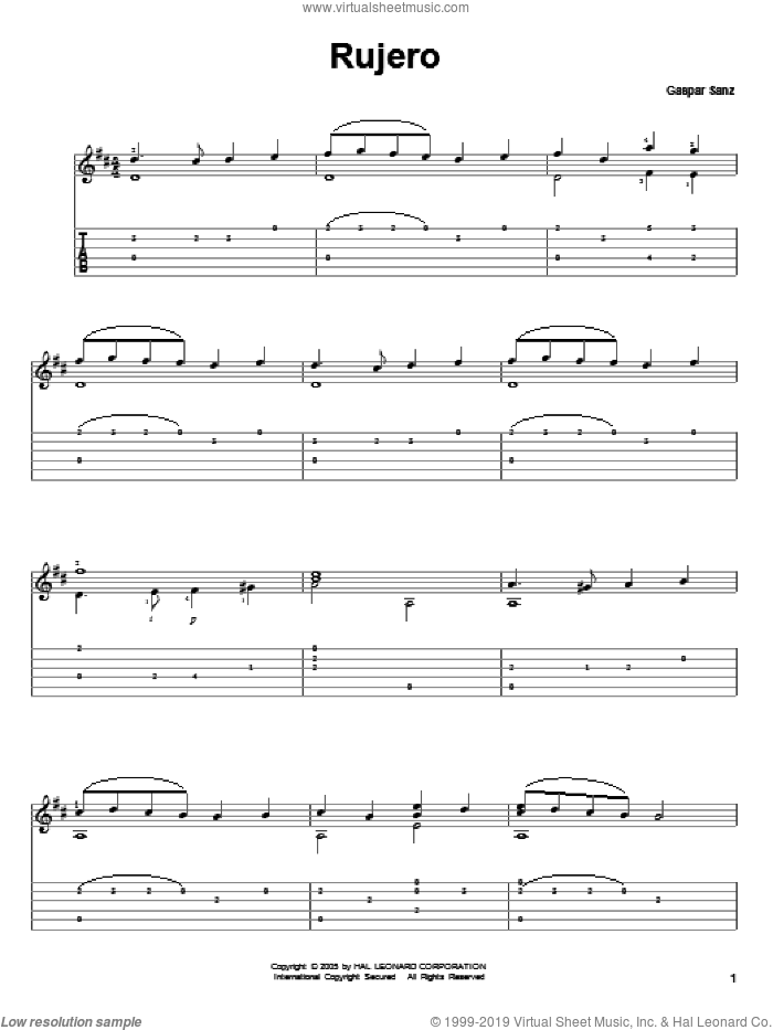 Rujero sheet music for guitar solo by Gaspar Sanz. Score Image Preview.