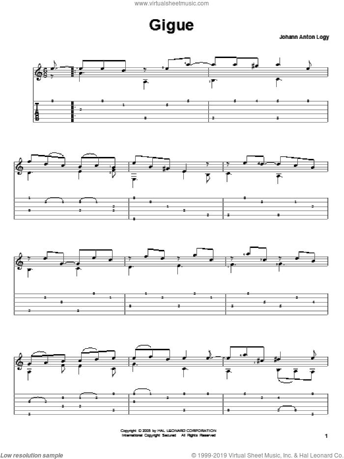 Gigue sheet music for guitar solo by Johann Anton Logy, classical score, intermediate guitar. Score Image Preview.