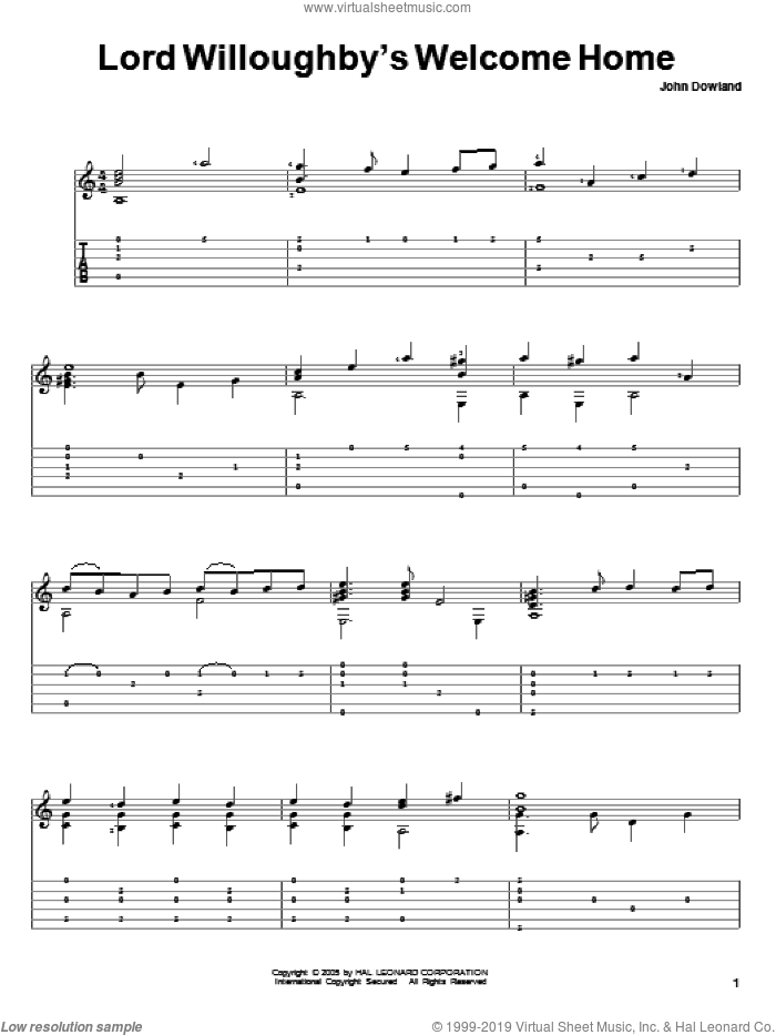 Lord Willoughby's Welcome Home sheet music for guitar solo by John Dowland. Score Image Preview.
