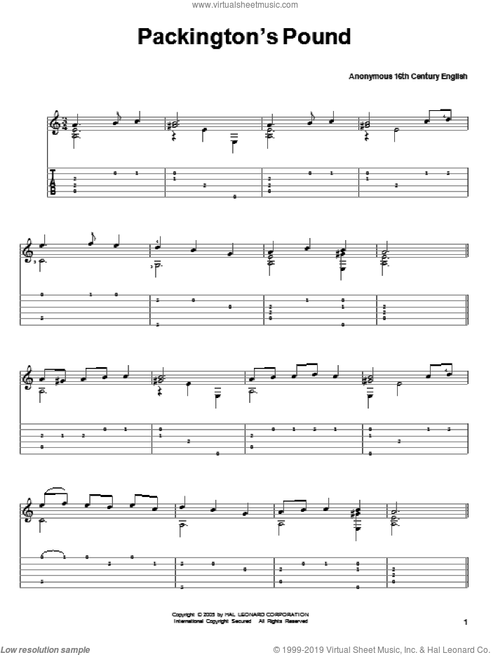 Packington's Pound sheet music for guitar solo  and Anonymous 16th Century English, classical score, intermediate skill level