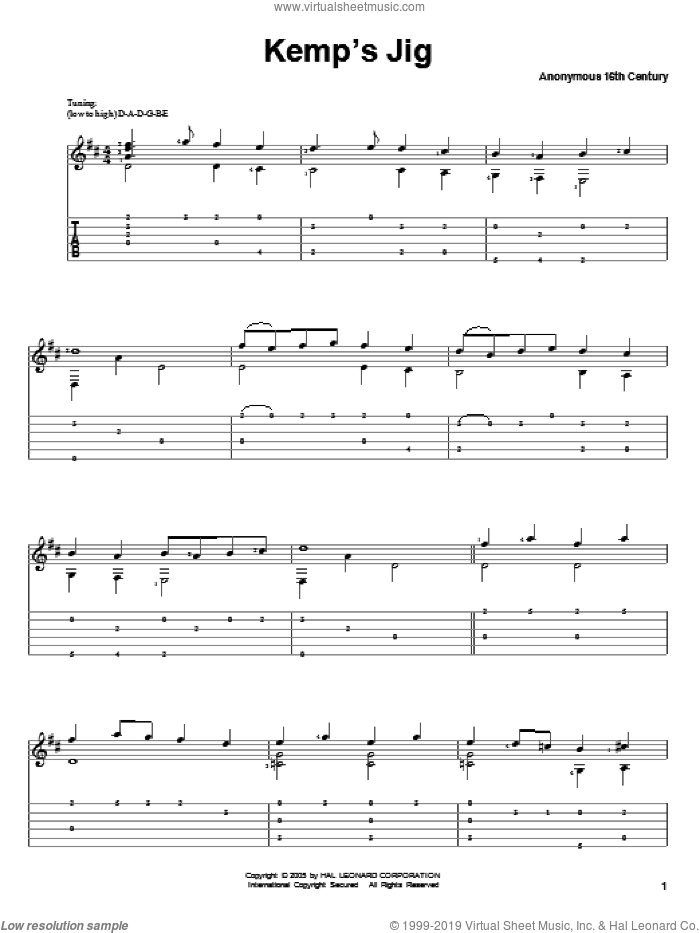 Kemp's Jig sheet music for guitar solo. Score Image Preview.