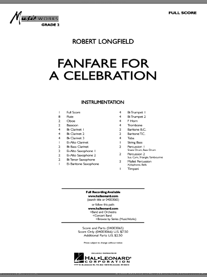 Fanfare For A Celebration sheet music for concert band (full score) by Robert Longfield