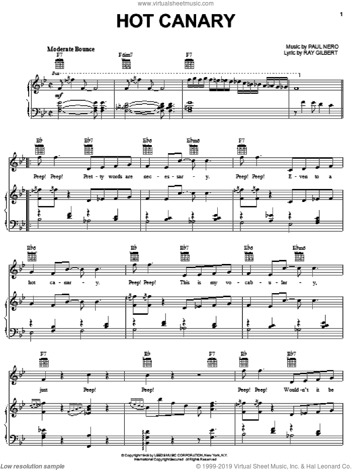The Hot Canary sheet music for voice, piano or guitar by Paul Nero. Score Image Preview.