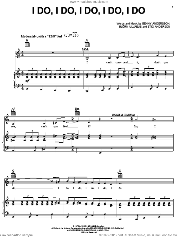I Do, I Do, I Do, I Do, I Do sheet music for voice, piano or guitar by ABBA, Mamma Mia! (Musical), Benny Andersson, Bjorn Alvaeus and Stig Anderson, intermediate skill level