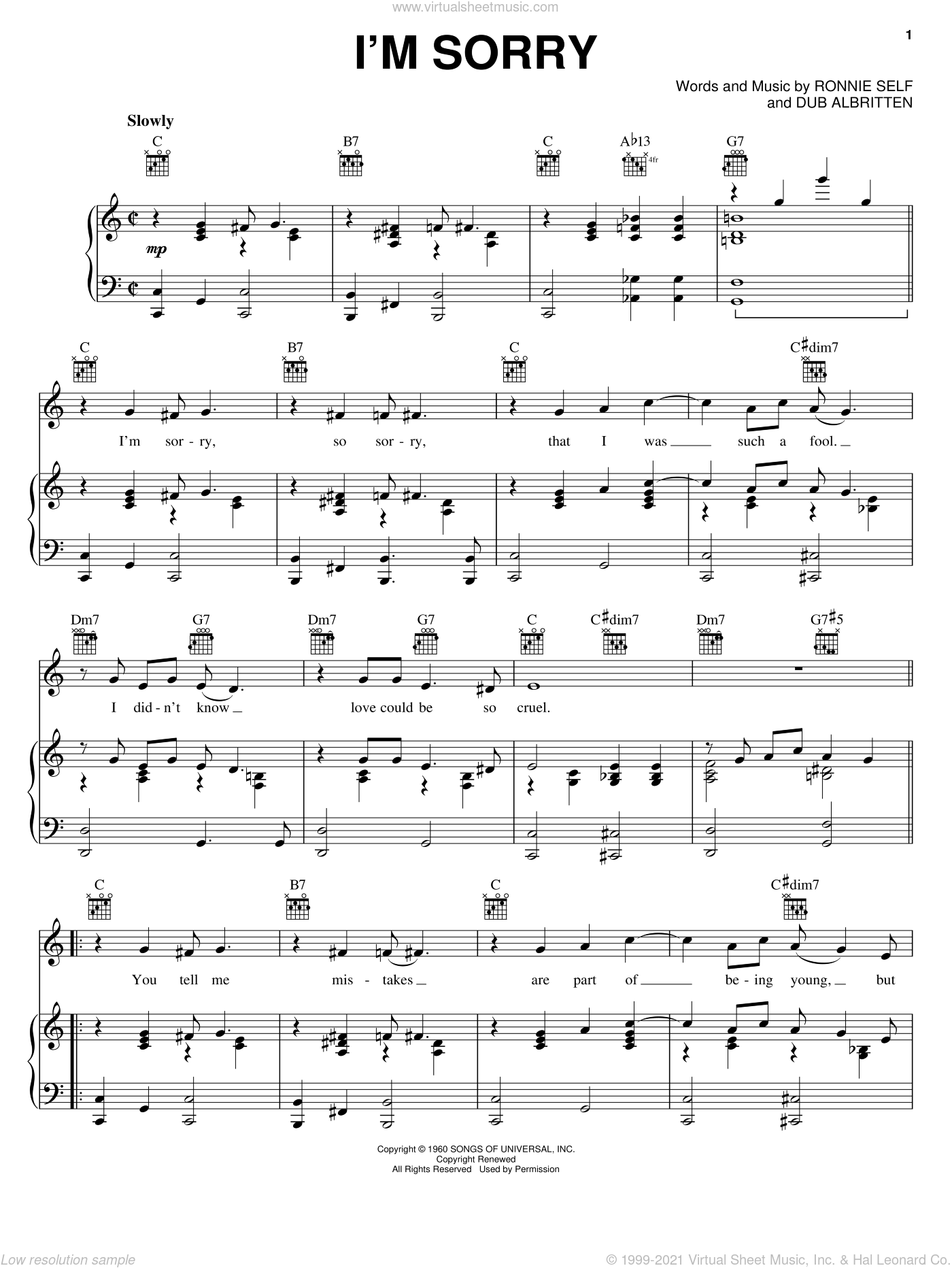 I'm Sorry sheet music for voice, piano or guitar by Ronnie Self and Brenda Lee. Score Image Preview.