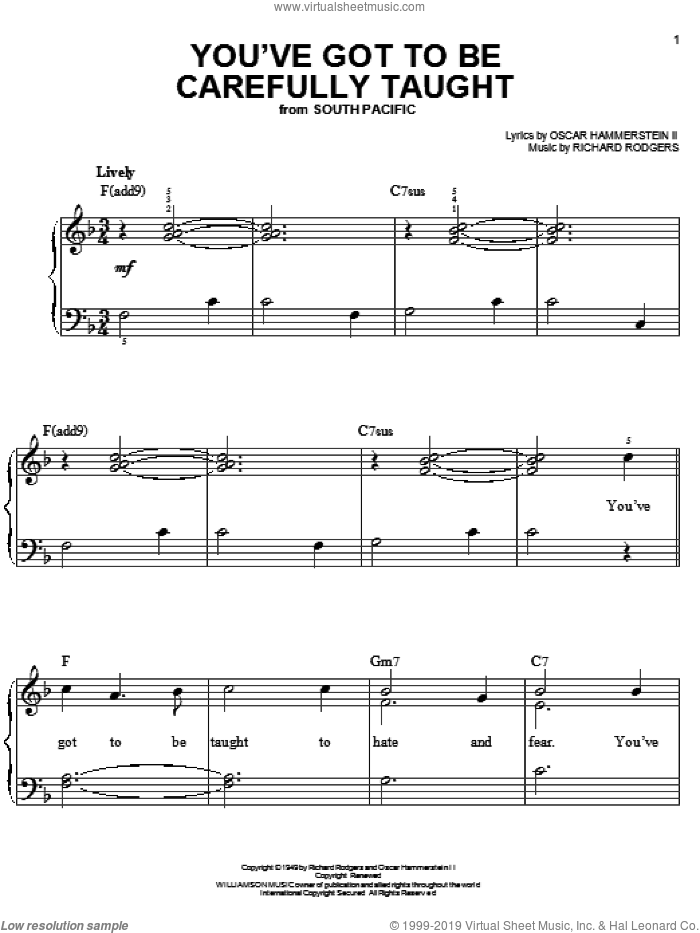 You've Got To Be Carefully Taught sheet music for piano solo by Richard Rodgers, Rodgers & Hammerstein and Oscar II Hammerstein. Score Image Preview.