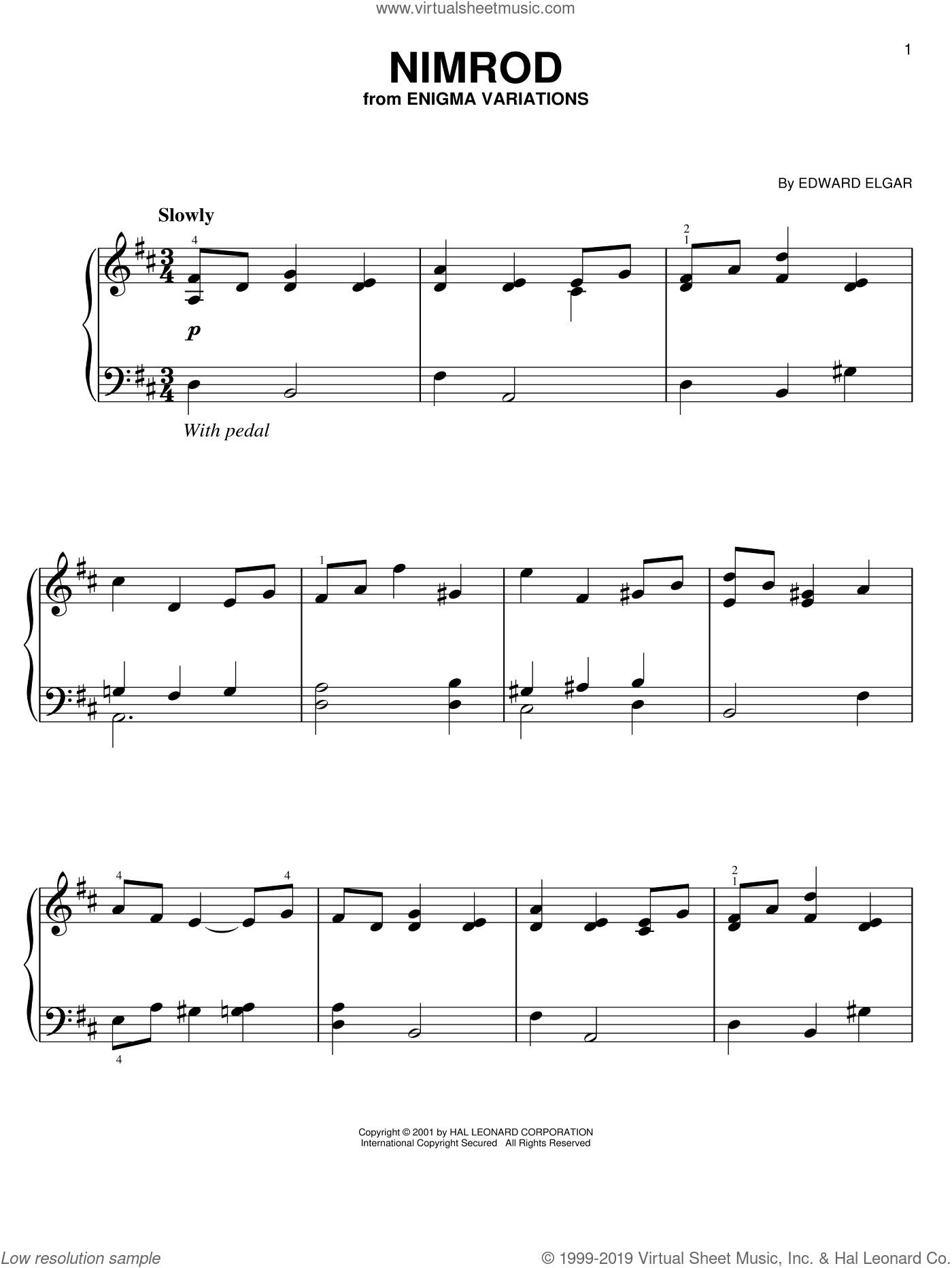 Nimrod sheet music for piano solo by Edward Elgar, classical score, easy skill level