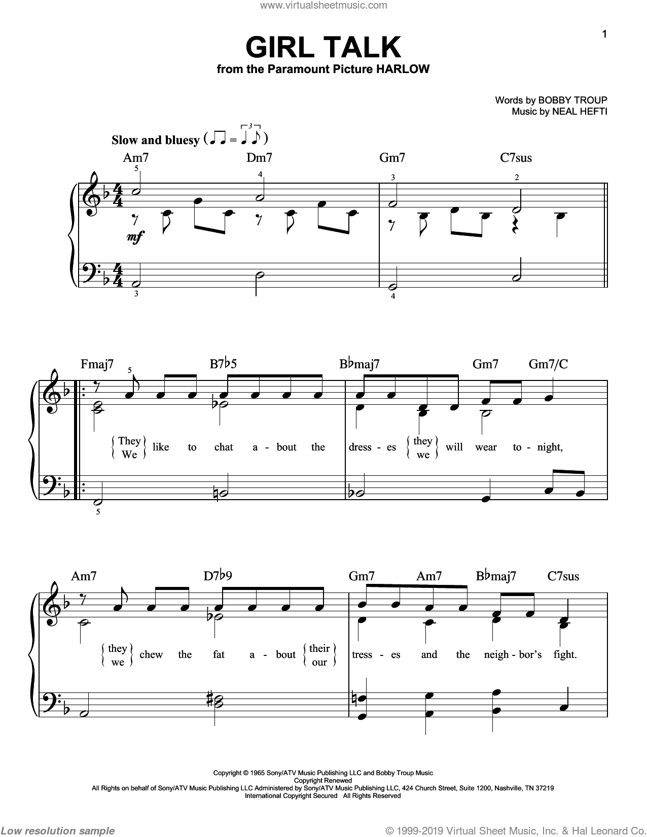 Girl Talk sheet music for piano solo by Neal Hefti and Bobby Troup. Score Image Preview.