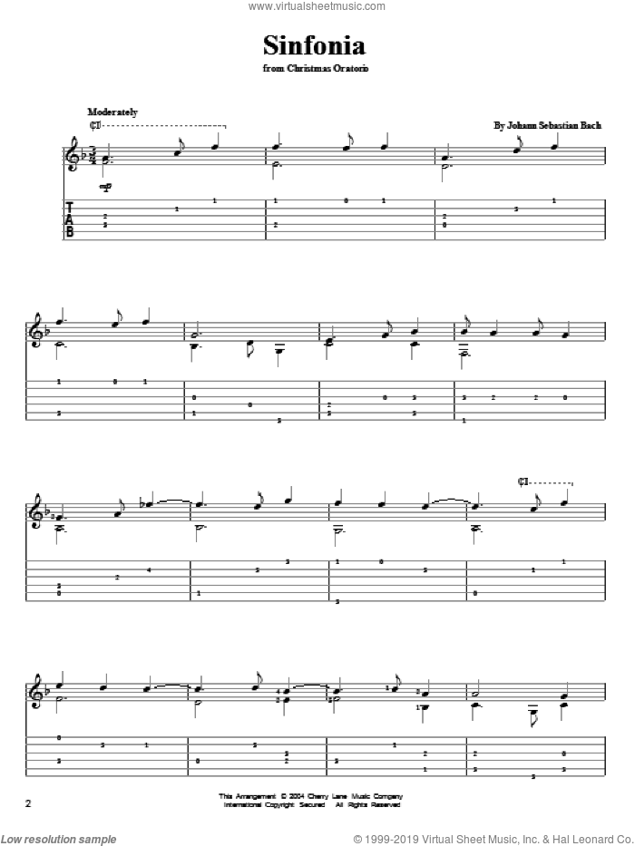 Sinfonia sheet music for guitar solo by Johann Sebastian Bach, classical score, intermediate skill level