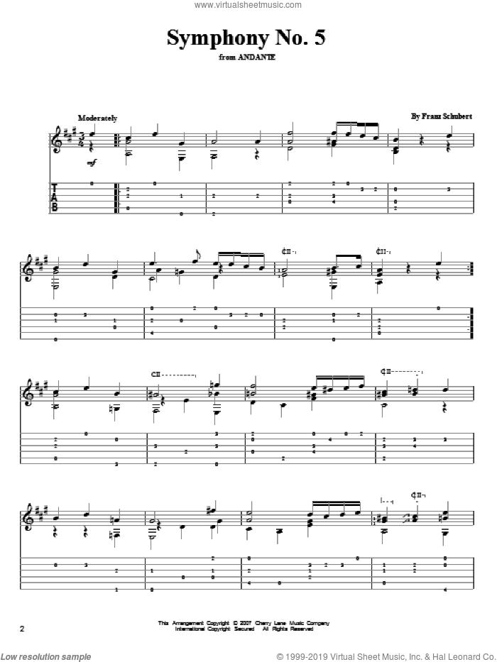 Symphony No. 5 sheet music for guitar solo by Franz Schubert, classical score, intermediate skill level
