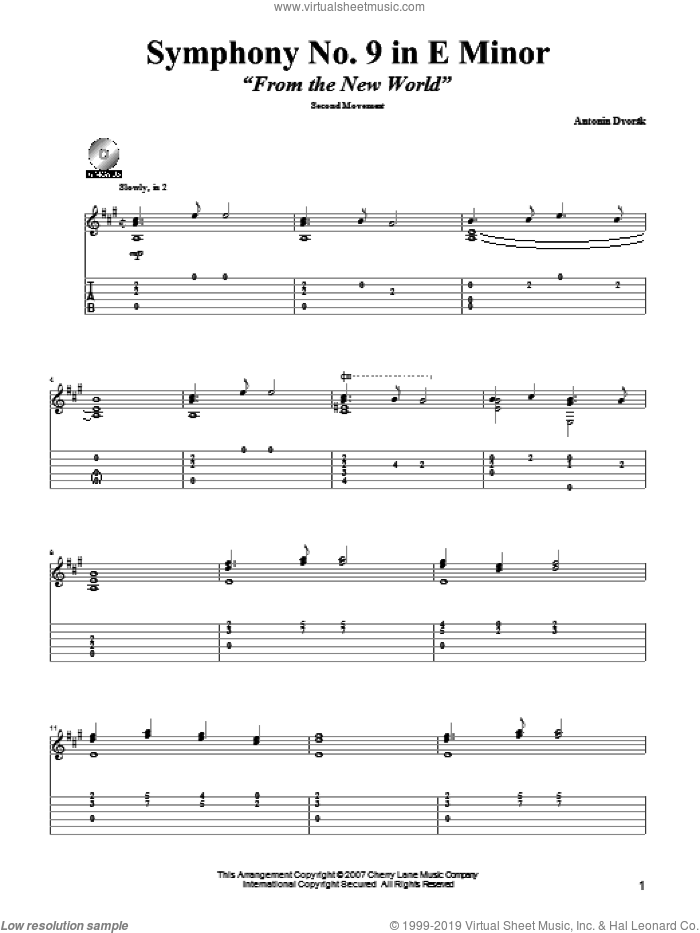 Symphony No. 9 In E Minor (From The New World), Second Movement Excerpt sheet music for guitar solo by Antonin Dvorak and Mark Phillips. Score Image Preview.