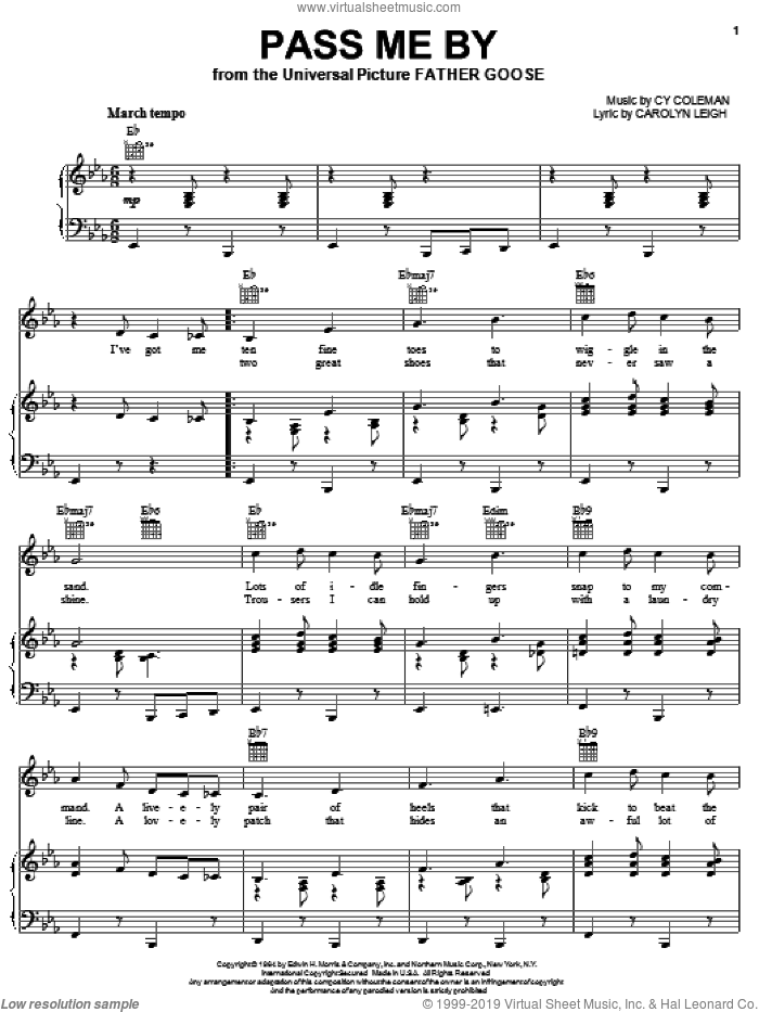 Pass Me By sheet music for voice, piano or guitar by Cy Coleman, Frank Sinatra, Peggy Lee and Carolyn Leigh, intermediate skill level