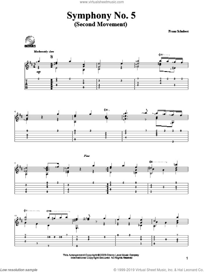 Symphony No. 5 sheet music for guitar solo by Franz Schubert and Mark Phillips. Score Image Preview.