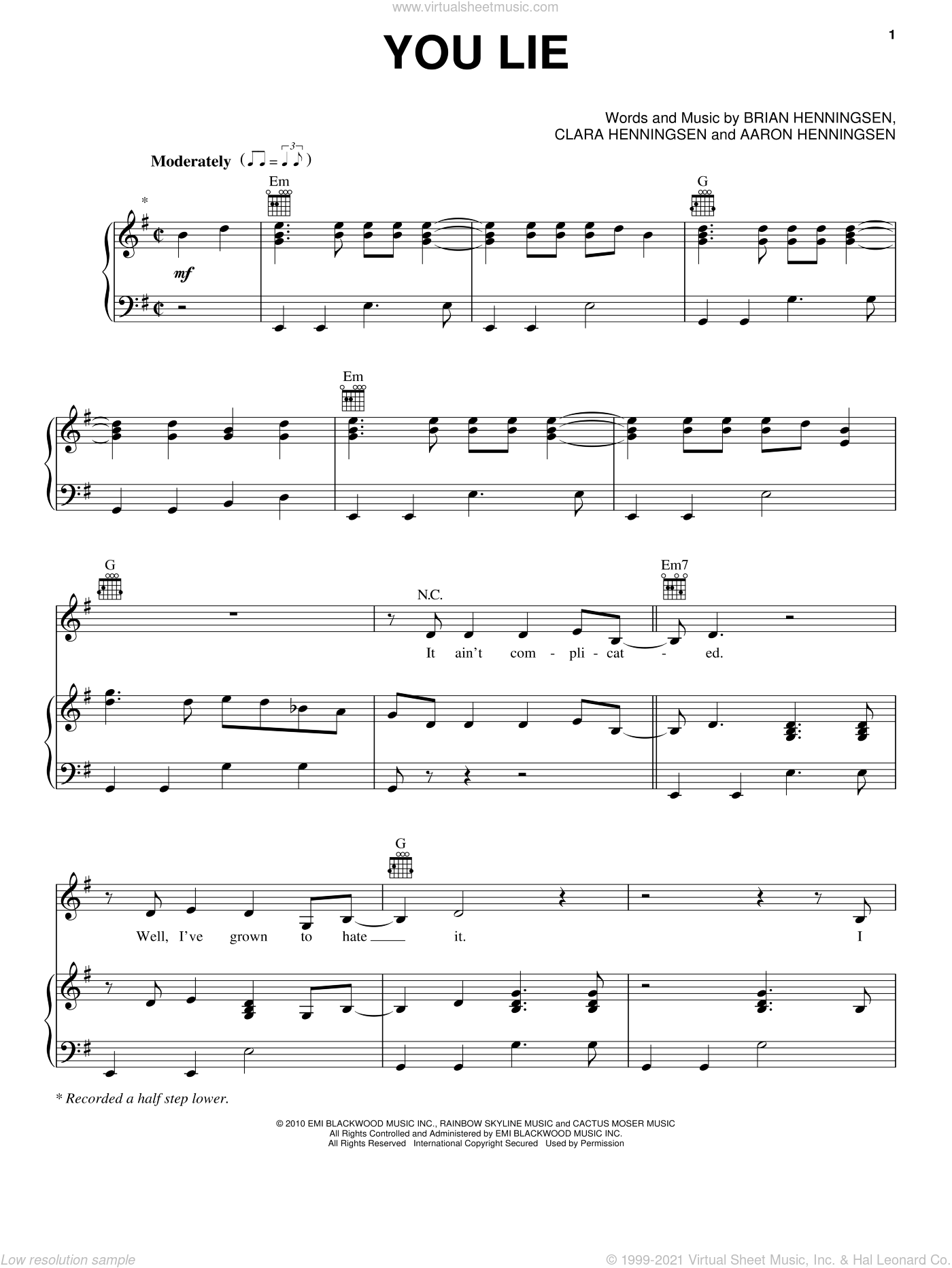 You Lie sheet music for voice, piano or guitar by The Band Perry, Aaron Henningsen, Brian Henningsen and Clara Henningsen, intermediate skill level