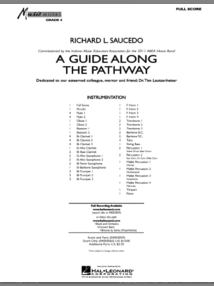 A Guide Along The Pathway sheet music for concert band (full score) by Richard L. Saucedo