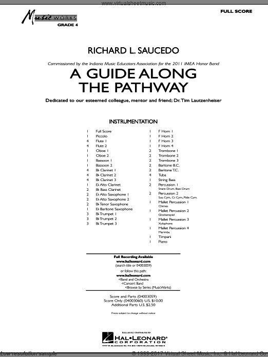 A Guide Along The Pathway (COMPLETE) sheet music for concert band by Richard L. Saucedo