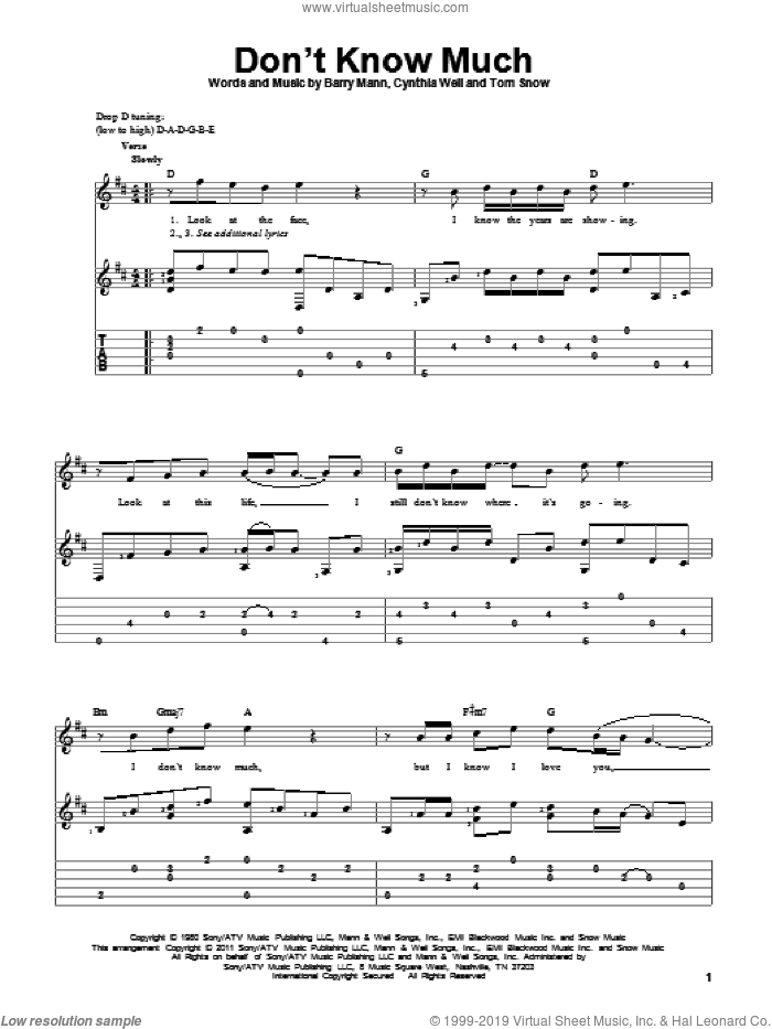 Don't Know Much sheet music for guitar solo by Aaron Neville and Linda Ronstadt, Linda Ronstadt and Aaron Neville, Barry Mann, Cynthia Weil and Tom Snow, wedding score, intermediate skill level