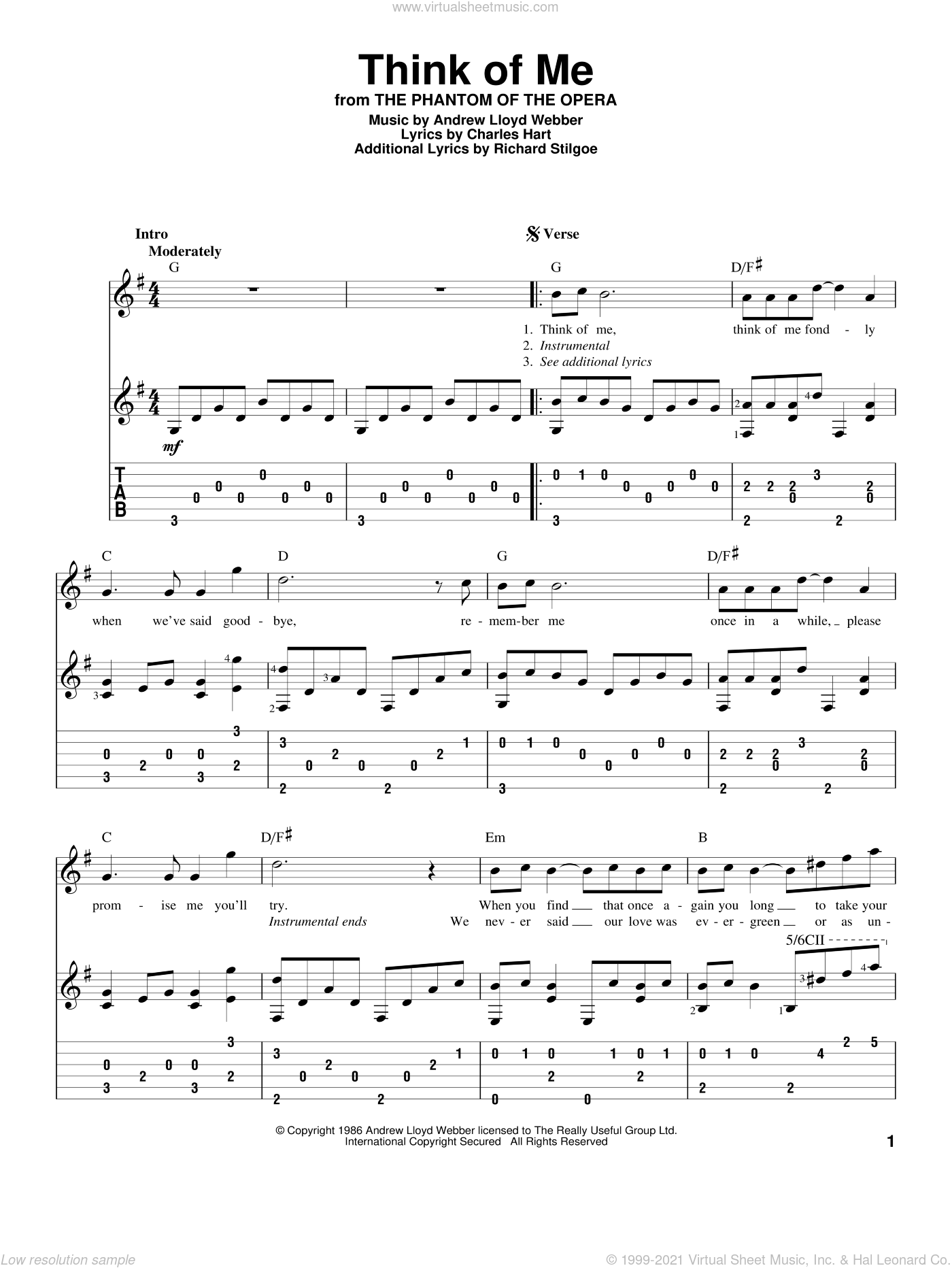 Webber Think Of Me From The Phantom Of The Opera Sheet Music For Guitar Solo
