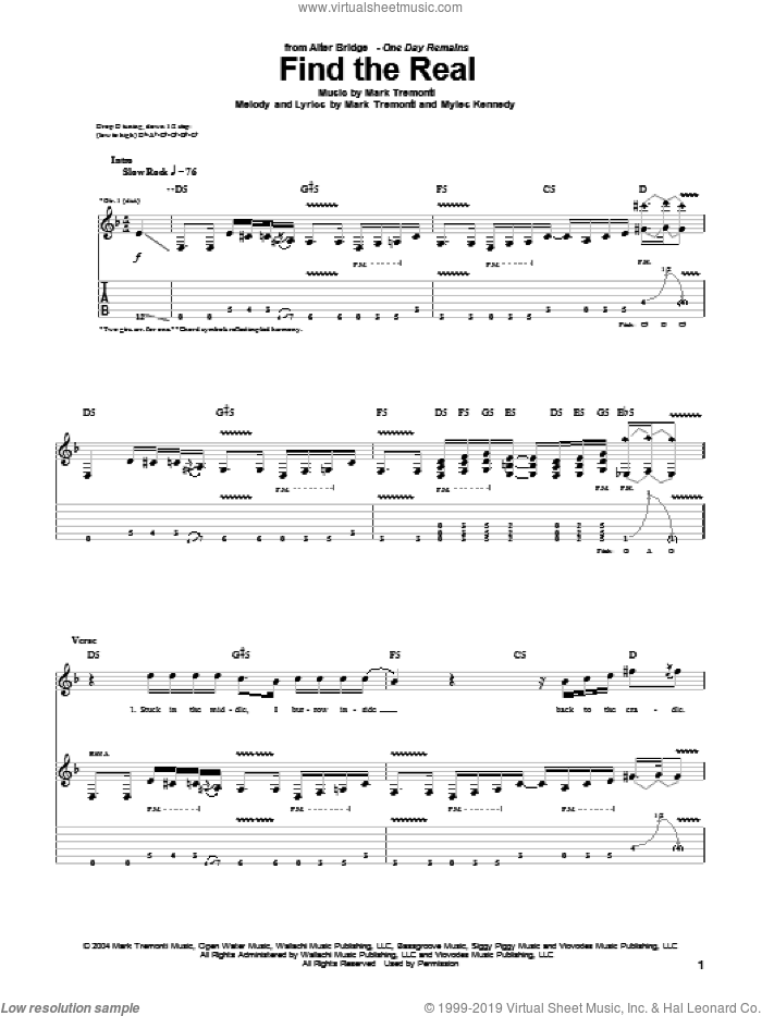 Find The Real sheet music for guitar (tablature) by Myles Kennedy, Alter Bridge and Mark Tremonti