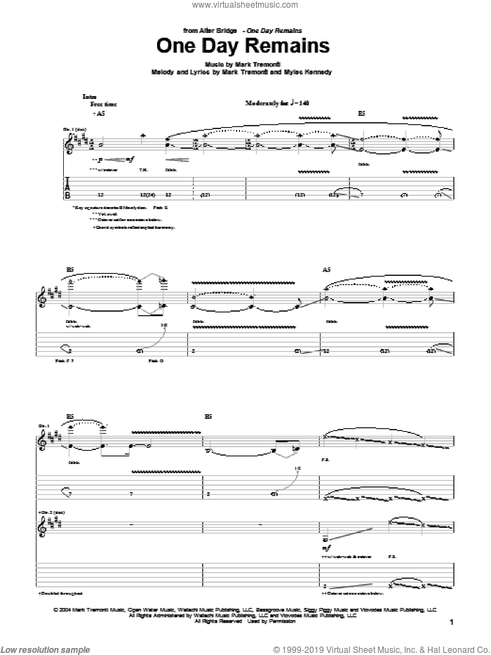 One Day Remains sheet music for guitar (tablature) by Alter Bridge, Mark Tremonti and Myles Kennedy, intermediate skill level