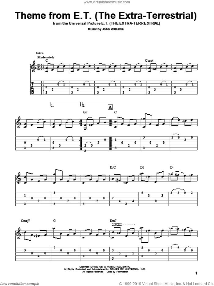 Theme From E.T. (The Extra-Terrestrial) sheet music for guitar solo by John Williams, intermediate skill level