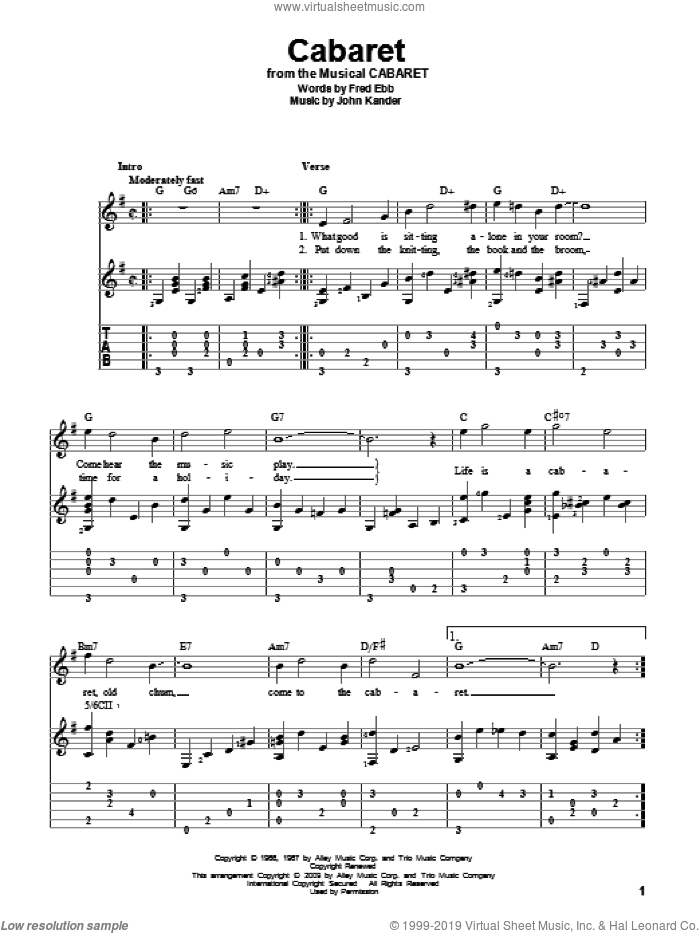Cabaret sheet music for guitar solo by Kander & Ebb, Cabaret (Musical), Fred Ebb and John Kander, intermediate skill level
