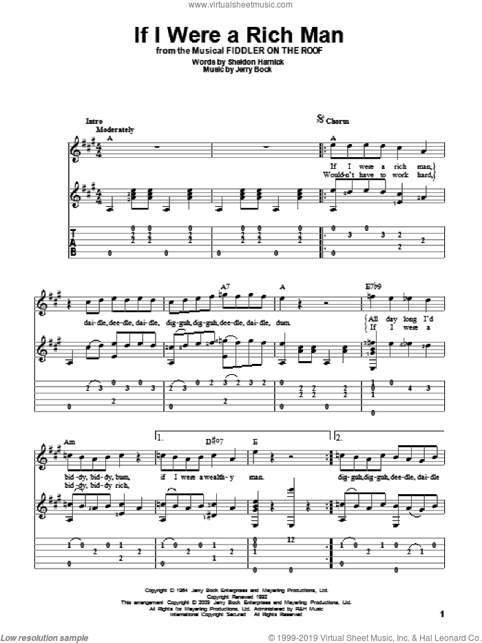 If I Were A Rich Man (from Fiddler On The Roof) sheet music for guitar solo by Bock & Harnick, Fiddler On The Roof (Musical), Jerry Bock and Sheldon Harnick, intermediate skill level