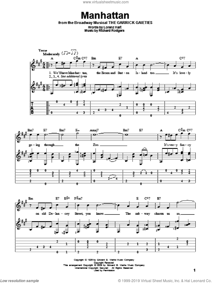 Manhattan sheet music for guitar solo by Rodgers & Hart, Lorenz Hart and Richard Rodgers, intermediate skill level