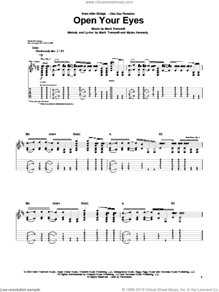 Open Your Eyes sheet music for guitar (tablature) by Alter Bridge, Mark Tremonti and Myles Kennedy, intermediate skill level