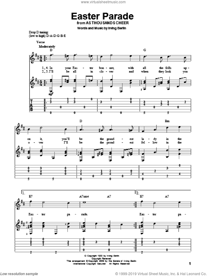 Easter Parade sheet music for guitar solo by Irving Berlin, intermediate skill level