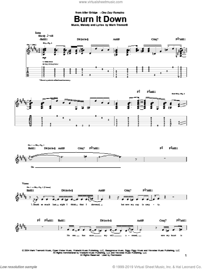 Burn It Down sheet music for guitar (tablature) by Alter Bridge and Mark Tremonti. Score Image Preview.