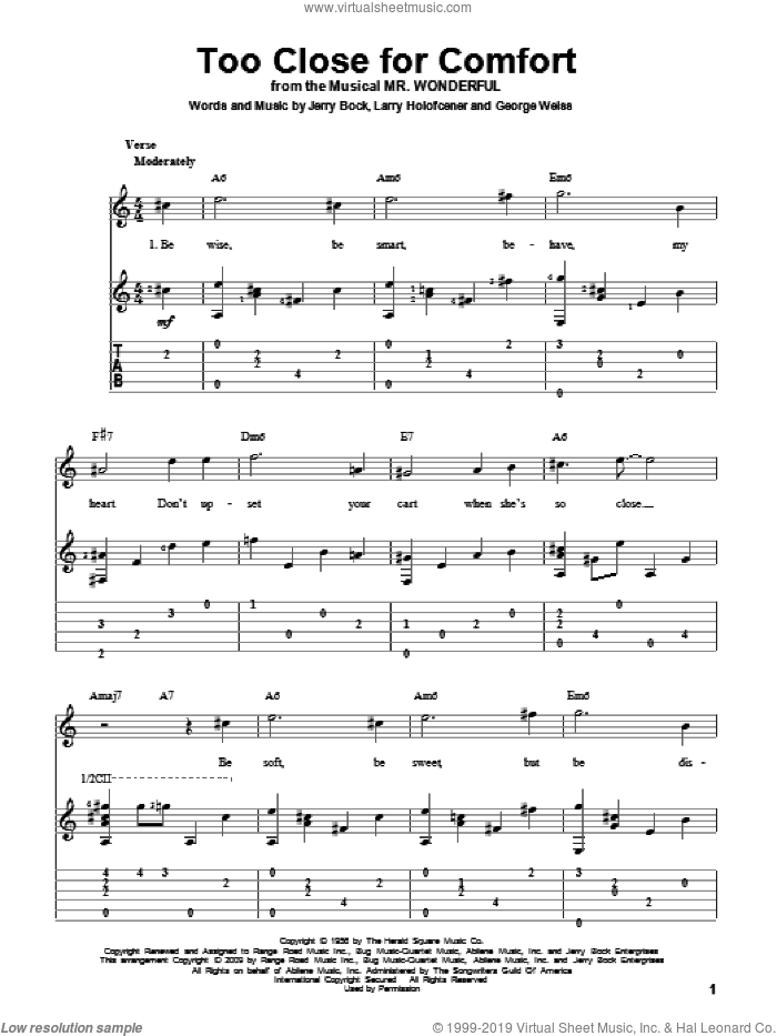 Too Close For Comfort sheet music for guitar solo by Larry Holofcener, George David Weiss and Jerry Bock. Score Image Preview.